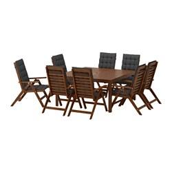 ÄPPLARÖ - Meja+8 kursi sandar, diwarnai cokelat/Hållö hitam