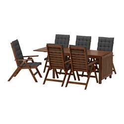 ÄPPLARÖ - Meja+6 kursi recliner, l.ruang, diwarnai cokelat/Hållö hitam