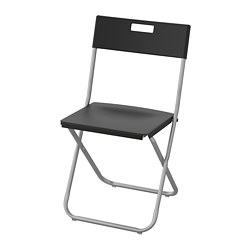 GUNDE - Folding chair, black