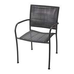 LÄCKÖ - Chair with armrests, outdoor, grey