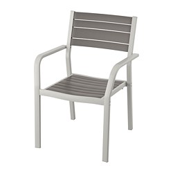 SJÄLLAND - Chair with armrests, outdoor, light grey/dark grey