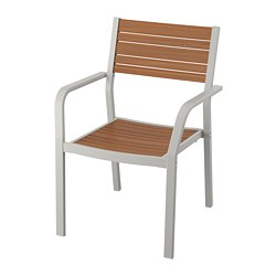 SJÄLLAND - Chair with armrests, outdoor, light grey/light brown
