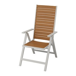 SJÄLLAND - Reclining chair, outdoor, light grey foldable/light brown