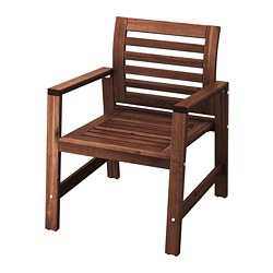 ÄPPLARÖ - Chair with armrests, outdoor, brown stained