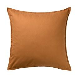 GURLI - Sarung bantal kursi, cokelat-kuning, 50x50 cm