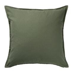 GURLI - Sarung bantal kursi, hijau zaitun tua, 50x50 cm