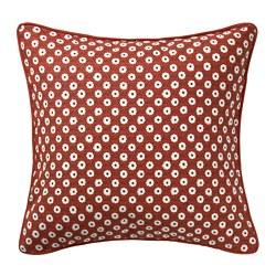 SNÖBRÄCKA - Sarung bantal kursi, merah putih/pola bunga, 50x50 cm