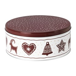 VINTER 2020 - Tin with lid, gingerbread pattern white/brown