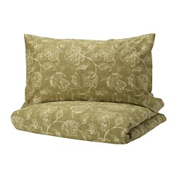 JUNIMAGNOLIA - Sarung quilt dan 2 sarung bantal, hijau/putih