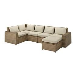 SOLLERÖN - Sofa sdt 4 ddkn mdlr, luar ruangan, dengan bangku kaki cokelat/Hållö krem