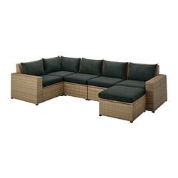 SOLLERÖN - Sofa sdt 4 ddkn mdlr, luar ruangan, dengan bangku kaki cokelat/Hållö hitam