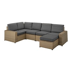 SOLLERÖN - Modular corner sofa 4-seat, outdoor, with footstool brown/Frösön/Duvholmen dark grey