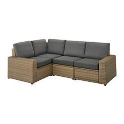 SOLLERÖN - Sofa sdt 3 ddkn mdlr, luar ruangan, cokelat/Frösön/Duvholmen abu-abu tua