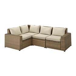 SOLLERÖN - Sofa sdt 3 ddkn mdlr, luar ruangan, cokelat/Hållö krem