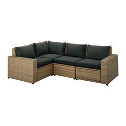 SOLLERÖN - Sofa sdt 3 ddkn mdlr, luar ruangan, cokelat/Hållö hitam