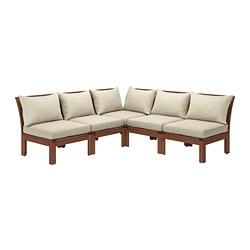 ÄPPLARÖ - Sofa sdt 4 ddkn mdlr, luar ruangan, diwarnai cokelat/Hållö krem