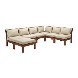 ÄPPLARÖ - Sofa sdt 5 ddkn mdlr, luar ruangan, dengan bangku kaki diwarnai cokelat/Hållö krem