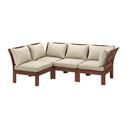ÄPPLARÖ - Modular corner sofa 3-seat, outdoor, brown stained/Hållö beige