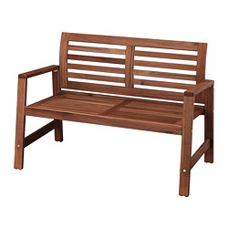 ÄPPLARÖ - Bench with backrest, outdoor, brown stained