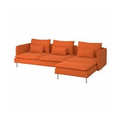 SÖDERHAMN - 4-seat sofa, with chaise longue/Samsta orange