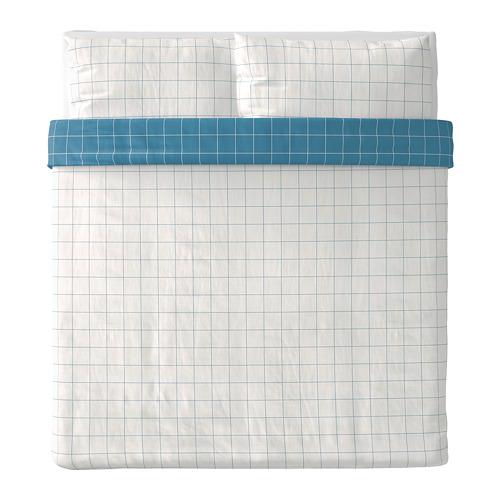 VITKLÖVER - duvet cover dan 2 sarung bantal, putih biru/motif kotak, 240x220/50x80 cm | IKEA Indonesia - PE790076_S4