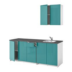 KNOXHULT - Kitchen, high-gloss blue-turquoise