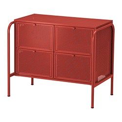 NIKKEBY - Chest of 4 drawers, red