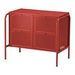 NIKKEBY - Lemari 4 laci, merah