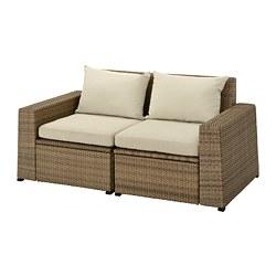 SOLLERÖN - SOLLERÖN, sofa mdlr dua dudukan, luar ruangan, cokelat/Hållö krem, 161x82x82 cm