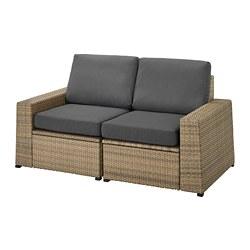 SOLLERÖN - Sofa mdlr dua dudukan, luar ruangan, cokelat/Frösön/Duvholmen abu-abu tua