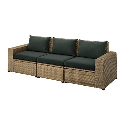 SOLLERÖN sofa mdlr tiga ddkan, luar ruangan