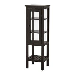HEMNES - Kabinet tinggi dengan pintu kaca, hitam-cokelat