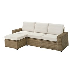 SOLLERÖN - Sofa mdlr tiga ddkan, luar ruangan, dengan bangku kaki cokelat/Frösön/Duvholmen krem, 223x144x88 cm