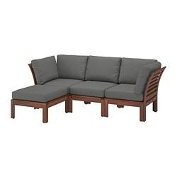 ÄPPLARÖ - Sofa mdlr tiga ddkan, luar ruangan, dengan bangku kaki diwarnai cokelat/Frösön/Duvholmen abu-abu tua
