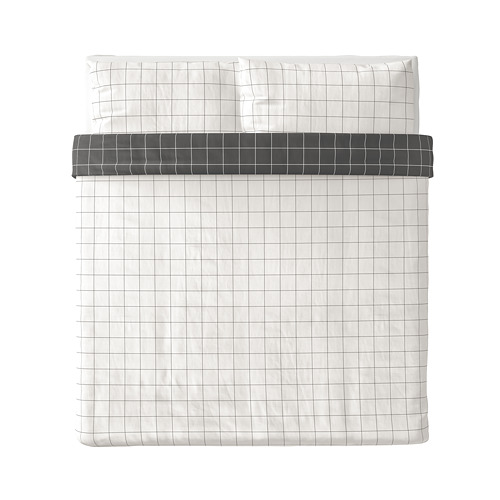 VITKLÖVER - duvet cover dan 2 sarung bantal, putih hitam/motif kotak, 240x220/50x80 cm | IKEA Indonesia - PE790192_S4