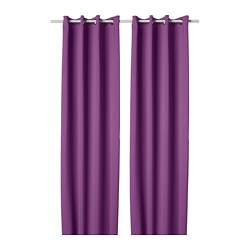 HILLEBORG - Block-out curtains, 1 pair, lilac