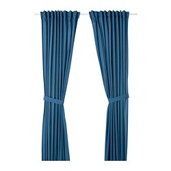 AMILDE - Curtains with tie-backs, 1 pair, blue