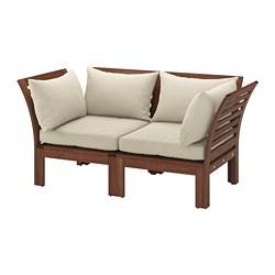 ÄPPLARÖ - Sofa mdlr dua dudukan, luar ruangan, diwarnai cokelat/Hållö krem