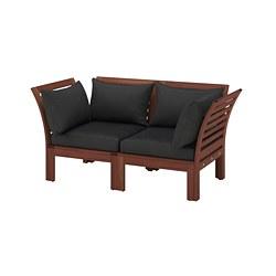 ÄPPLARÖ - Sofa mdlr dua dudukan, luar ruangan, diwarnai cokelat/Hållö hitam