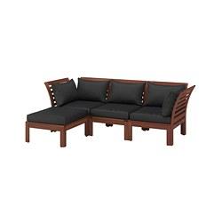 ÄPPLARÖ - Sofa mdlr tiga ddkan, luar ruangan, dengan bangku kaki diwarnai cokelat/Hållö hitam