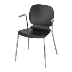 SVENBERTIL - Chair with armrests, black/Dietmar chrome-plated