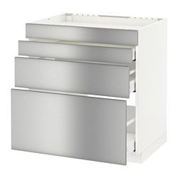 METOD - Base cab f hob/4 fronts/3 drawers, white Maximera/Grevsta stainless steel