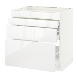 METOD - Base cab f hob/4 fronts/3 drawers, white Maximera/Ringhult white
