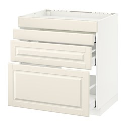 METOD - Base cab f hob/4 fronts/3 drawers, white Maximera/Bodbyn off-white