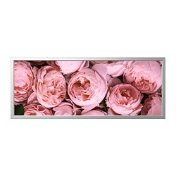 BJÖRKSTA - Picture with frame, Pink peony/aluminium-colour