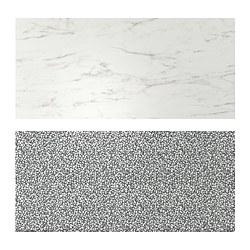 LYSEKIL - Panel dinding, dua sisi efek marmer putih/hitam/putih pola mosaik