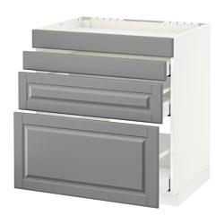 METOD - Base cab f hob/4 fronts/3 drawers, white Maximera/Bodbyn grey