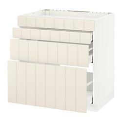 METOD - Base cab f hob/4 fronts/3 drawers, white Maximera/Hittarp off-white