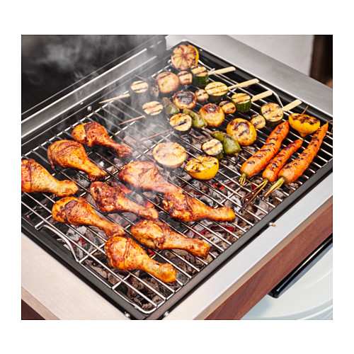 ÄPPLARÖ/KLASEN - charcoal barbecue with cabinet, brown stained   IKEA Indonesia - PE584419_S4