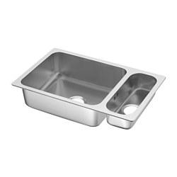 HILLESJÖN - Inset sink 1 1/2 bowl, stainless steel